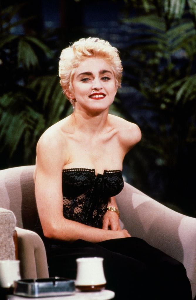Madonna in a black bustier on *The Tonight Show Starring Johnny Carson* in June 1987.