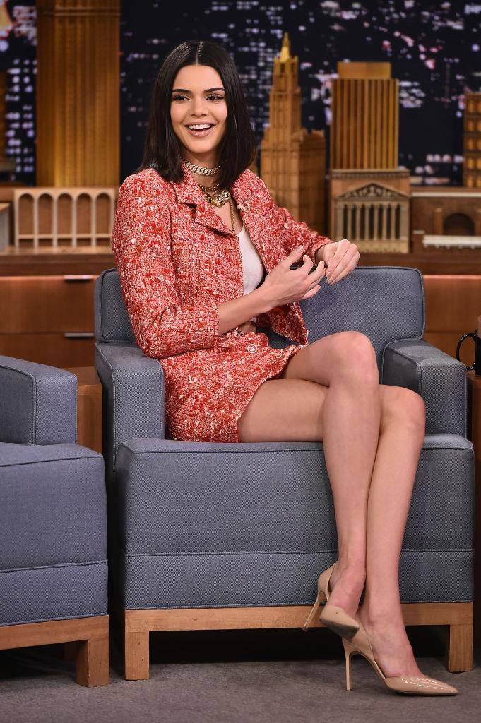 Kendall Jenner in a Chanel tweed suit on *The Tonight Show Starring Jimmy Fallon* in February 2017.