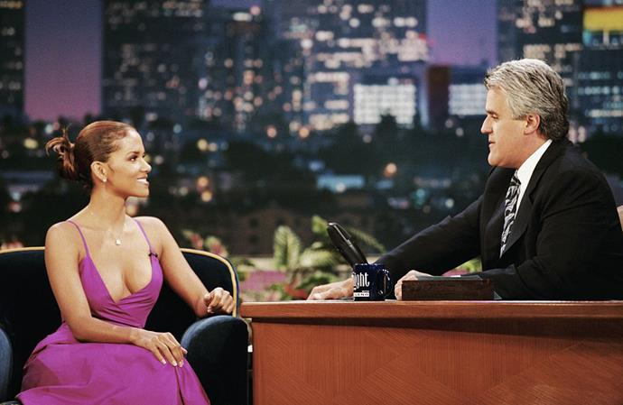 Halle Berry in a magenta slip dress on *The Tonight Show with Jay Leno* in August 1998.
