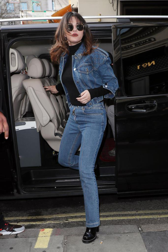 At a London radio station on December 11, 2019, wearing double denim.