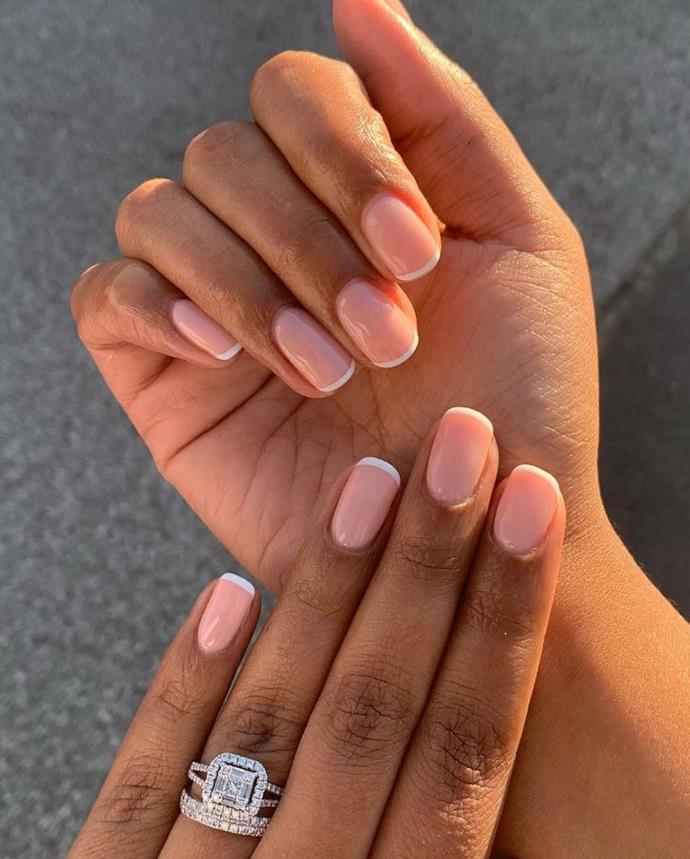 "**FRENCH MANICURES** <br><br> ""We are seeing a return of the French manicure!"" says Papadopoulos. ""This again will suit anyone and doesn't need to be done on long nails. We are seeing a lot of shorter manis with a fine white line instead of that '90s trend of thick white square acrylic french!"" <br><br> *Image: [@westbeauty_byharriet](https://www.instagram.com/p/B5WA96dgTMP/