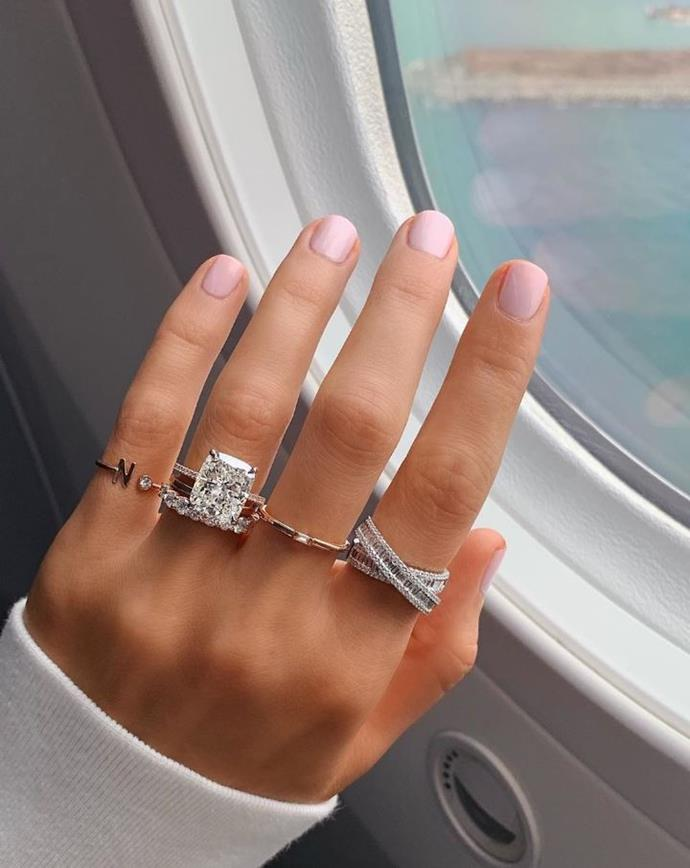 "**MATCHING YOUR NAIL SHAPE TO YOUR RING CUT** <br><br> ""Many people will match their nail shape to their diamond. If they have round or oval they will round their nails, or if they are square or rectangle then they will will go for a more square shape,"" Papadopoulos says. <br><br> *Image: [@ringconcierge](https://www.instagram.com/p/B1OdMA8Ajpl/