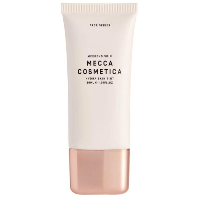 "**Best For: Running Errands** <br><br> This barely there tint works harder than a tinted moisturiser, but it's not quite a foundation, making it ideal for that no-makeup makeup look. <br><br> *Mecca Cosmetica Weekend Hydra Skin Tint, $40 at [MECCA](https://www.mecca.com.au/mecca-cosmetica/weekend-skin-hydra-skin-tint/V-038988.html|target=""_blank""