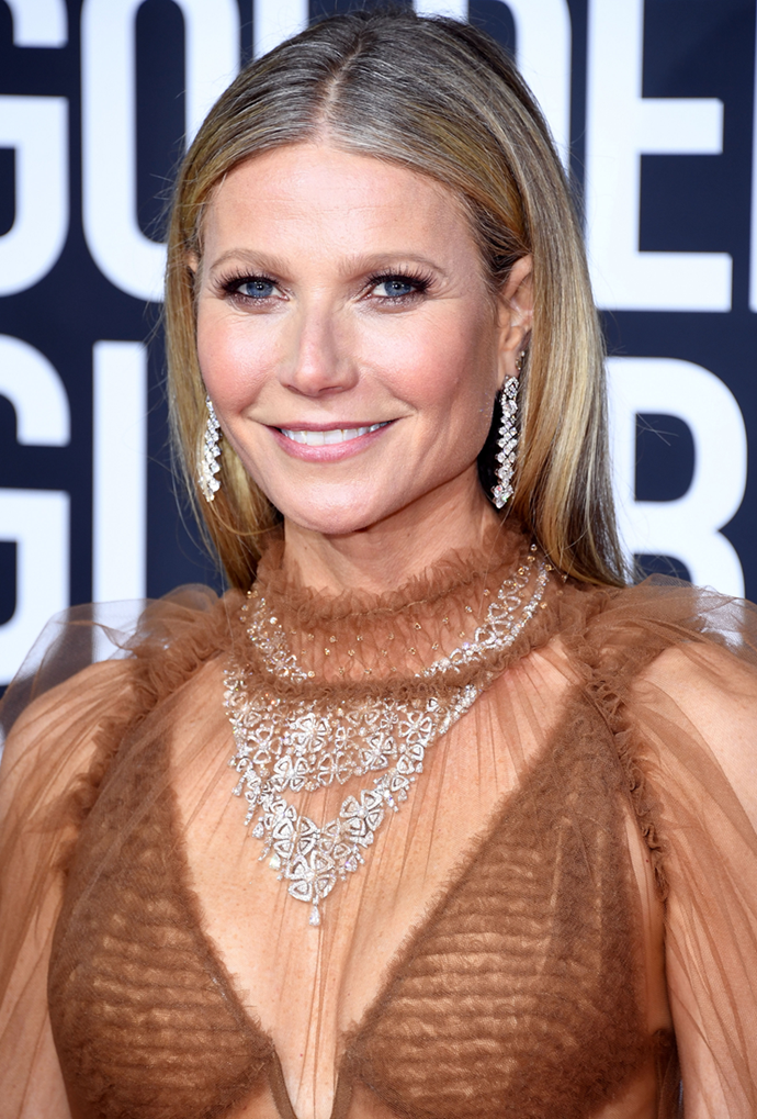 **Gwyneth Paltrow**<br> Paltrow takes a subtle stand against agism, displaying her grey roots in all their glory.