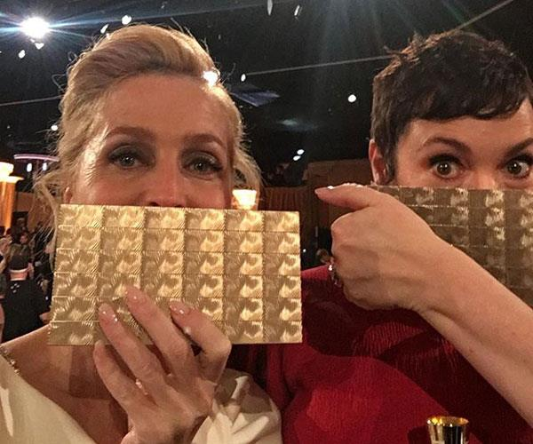 "**Gillian Anderson**  <br><br> Anderson, who plays Otis' mother and well known sex therapist, has been in a relationship with screenwriter Peter Morgan, the creator of Netflix's *The Crown*, since 2016. Anderson is very private on her Instagram but is pictured here with *The Crown*'s Olivia Colman at the 2020 Golden Globes. She also has three children from previous relationships.  *Source: [@gilliana](https://www.instagram.com/p/B69YUptFpYe/|target=""_blank""