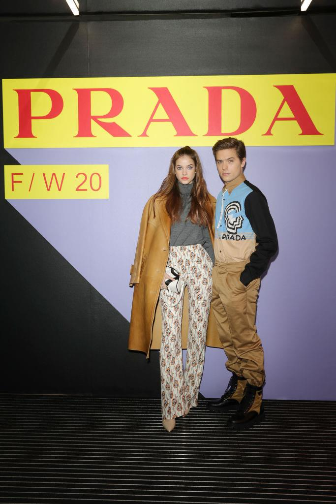 Palvin and Sprouse at Prada's menswear autumn/winter 2020 show in Milan on January 12, 2020.