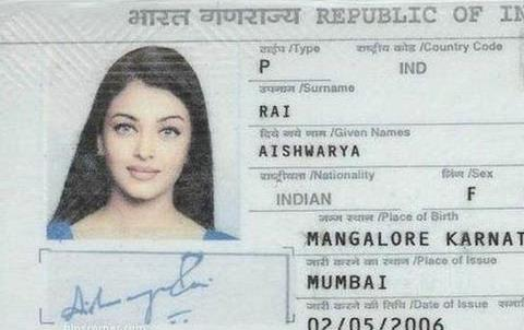 Aishwarya Rai in an old passport photo.