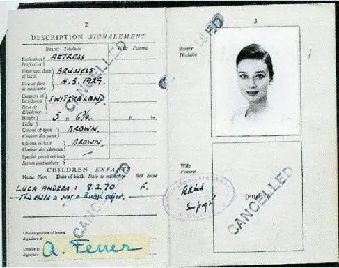 Audrey Hepburn in an old passport photo.