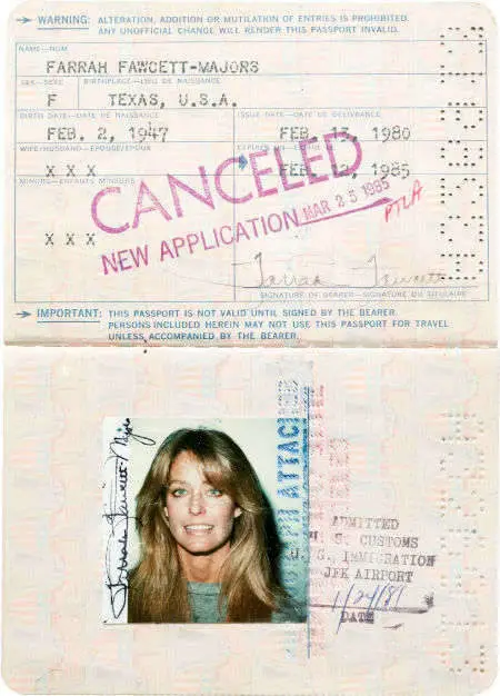 Farrah Fawcett in her old passport photo.