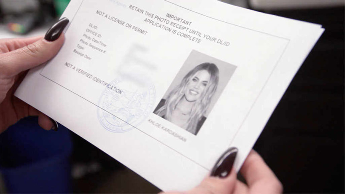 "Khloé Kardashian in her [(professionally lit)](https://www.harpersbazaar.com/celebrity/latest/a13121609/khloe-kardashian-dmv-drivers-license-photo/|target=""_blank""