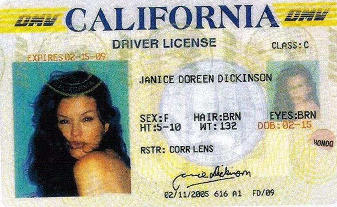 Janice Dickinson in an old driver's licence photo.