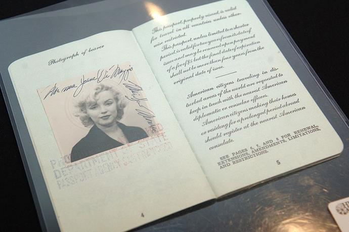 Marilyn Monroe in an old passport photo.