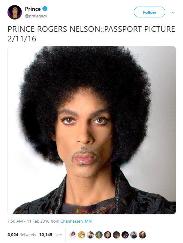 Prince's old passport photo.