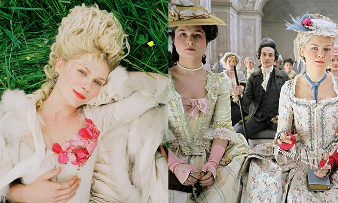 ***Marie Antoinette* (2006)** <br><br> Sofia Coppola's retelling of the story of ill-fated French queen Marie Antoinette was a *major* exercise in extravagance. As of today, we still can't get over the vivid, camp beauty and hair looks from the film, featuring majorly tall beehives and plenty of peach-coloured blush.