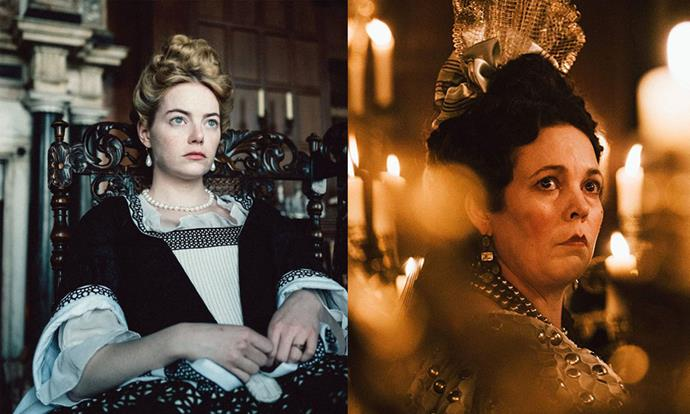 ***The Favourite* (2018)** <br><br> Kooky arthouse flick *The Favourite* cleaned up during the 2018 awards season, with its gloomy take on the tale of Queen Anne, a gout-ridden British royal from the 18th century. Aside from that, the beauty and hair looks worn by Emma Stone, Rachel Weisz and Olivia Colman are opulent, gritty, and hearken back to a much darker era of British royalty.