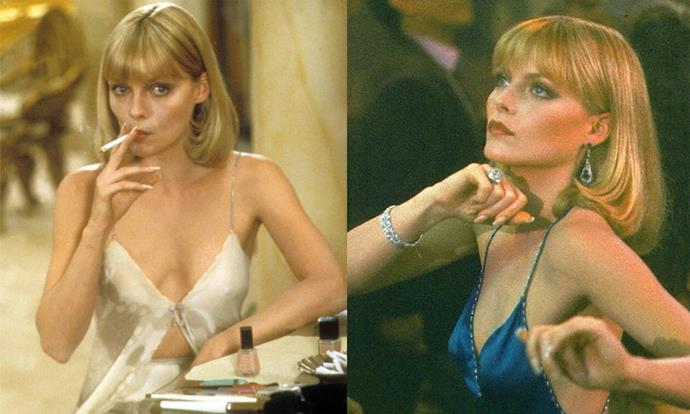 "***Scarface* (1983)** <br><br> 1983's *Scarface* dealt with controversial and hard-hitting subject matter, but made a beauty icon out of [Michelle Pfeiffer](https://www.harpersbazaar.com.au/beauty/michelle-pfeiffer-before-after-19481|target=""_blank""), who played Elvira Hancock, a steely mob wife. Her '70s bob and pared-back makeup (involving a hint of dark eye makeup at all times) culminated in what's become one of the most replicated beauty looks in film history."