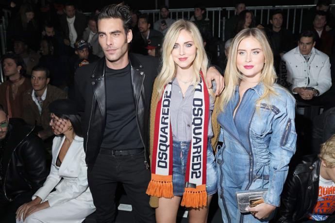 Jon Kortajarena, Chiara Ferragni and Valentina Ferragni at Dsquared2.