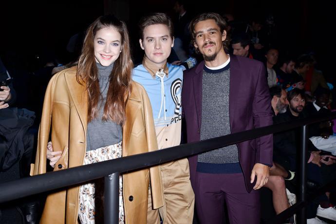 Barbara Palvin, Dylan Sprouse and Brenton Thwaites at Prada.