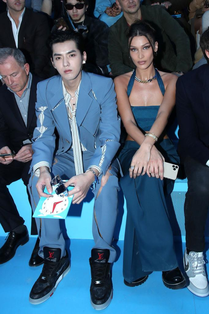 Bella Hadid and Kris Wu at Louis Vuitton.