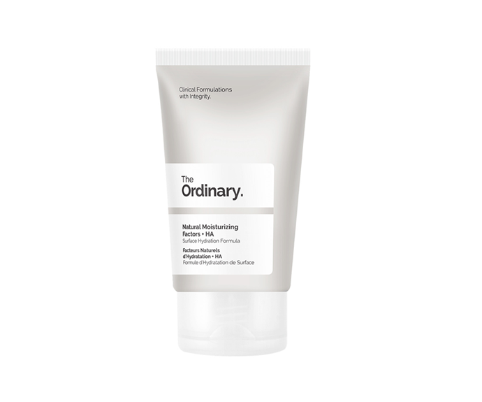 """**Natural Moisturising Factors + HA, $12.90 by [The Ordinary](https://theordinary.com/product/rdn-natural-moisturizing-factors-ha-30ml?redir=1