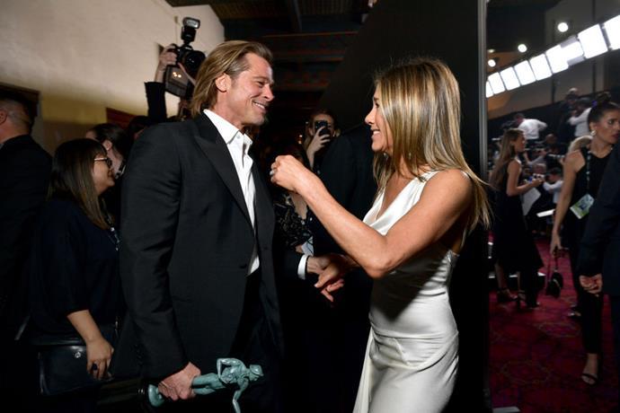 Aniston and Pitt at the 2020 SAG Awards.