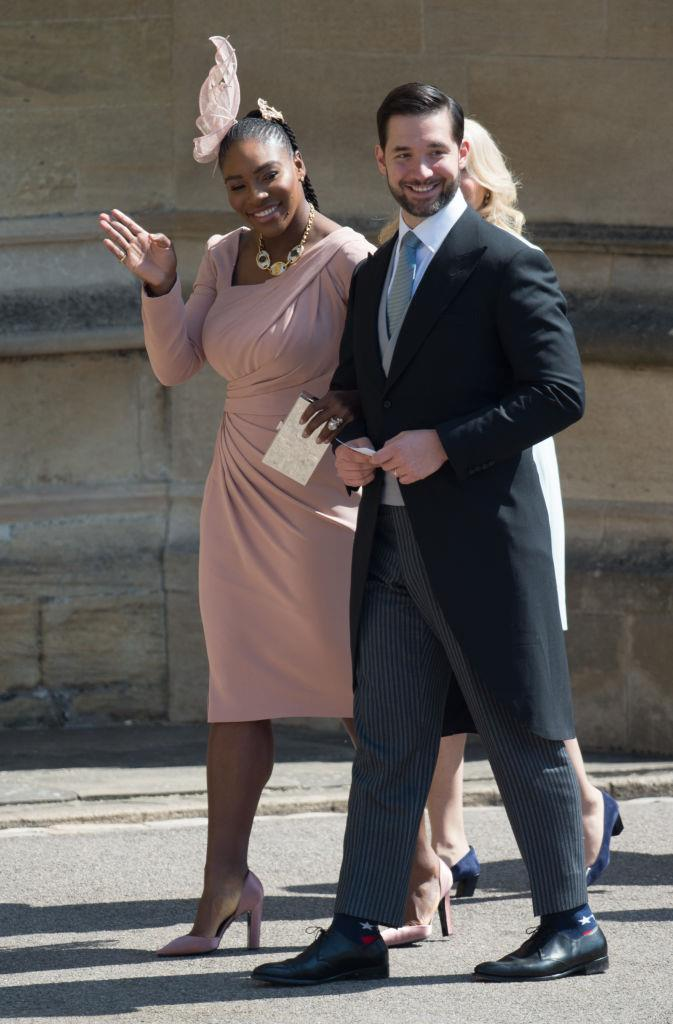 Serena Williams and Alexis Ohanian attending Meghan Markle and Prince Harry's wedding on May 19, 2018.