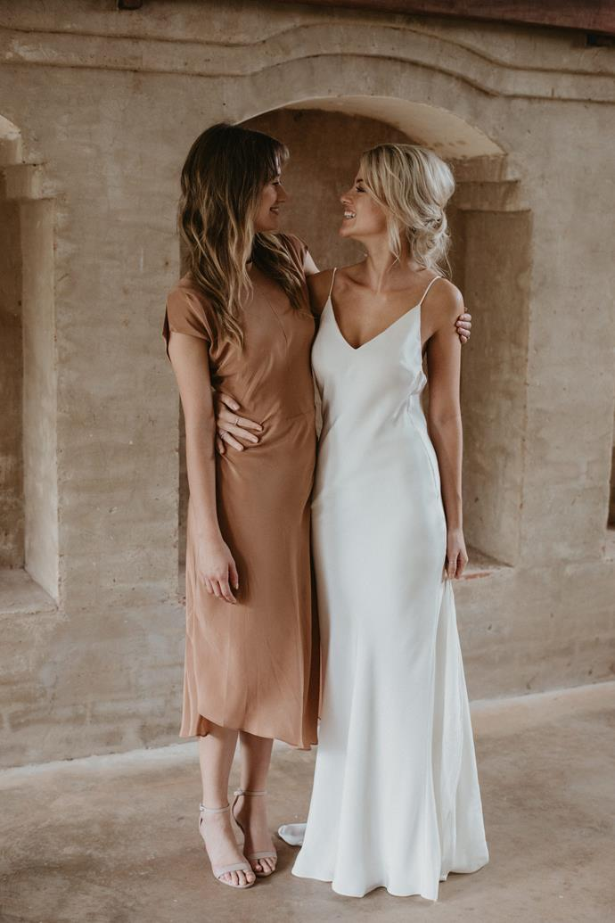 **What did your bridal party wear?** We had a colour theme for our day, autumn neutrals, so the rust Rowie dress my maid of honour picked on a Byron weekend together was so perfect.