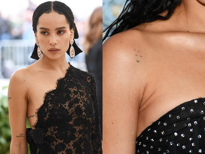 "**ZOË KRAVITZ**<br><br>  Although *Big Little Lies* star Zoë Kravitz has some [55 known tattoos](https://stealherstyle.net/zoe-kravitz/?post_type=tattoos|target=""_blank""), the delicate birds mid-flight on her shoulder is one of our favourites."