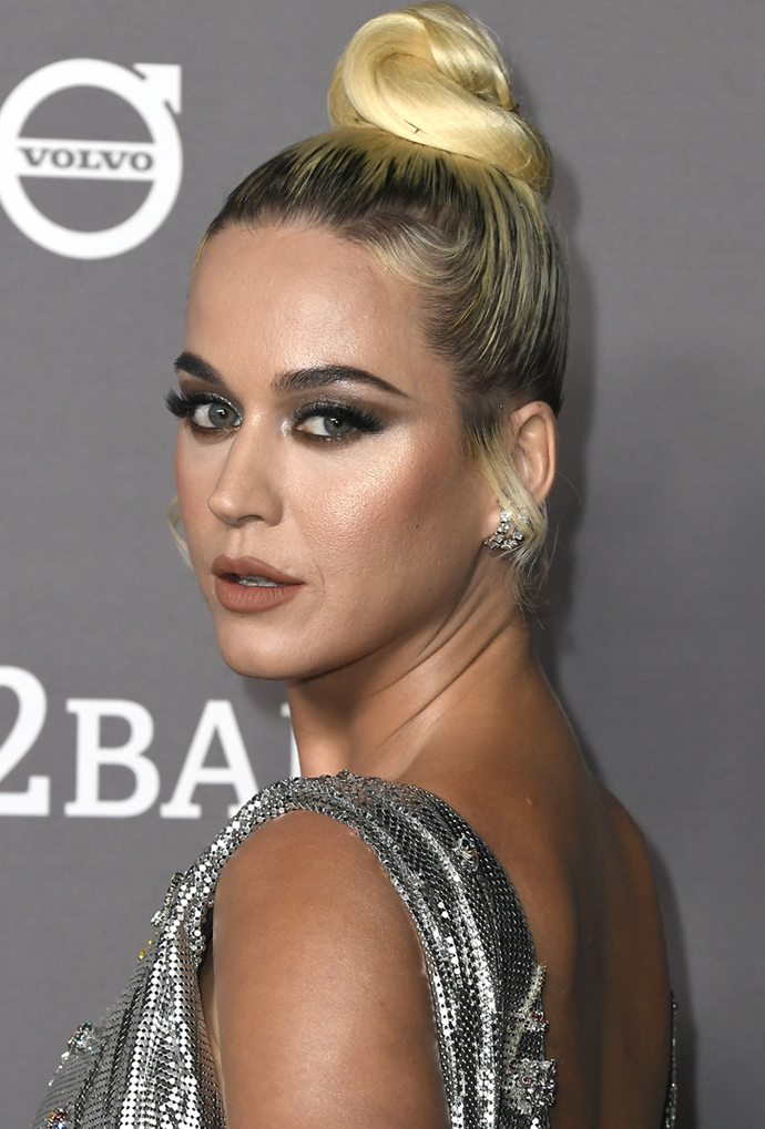 **Katy Perry**<br></br> Perry's sleek updo puts her choppy black-to-blonde blend on full display.