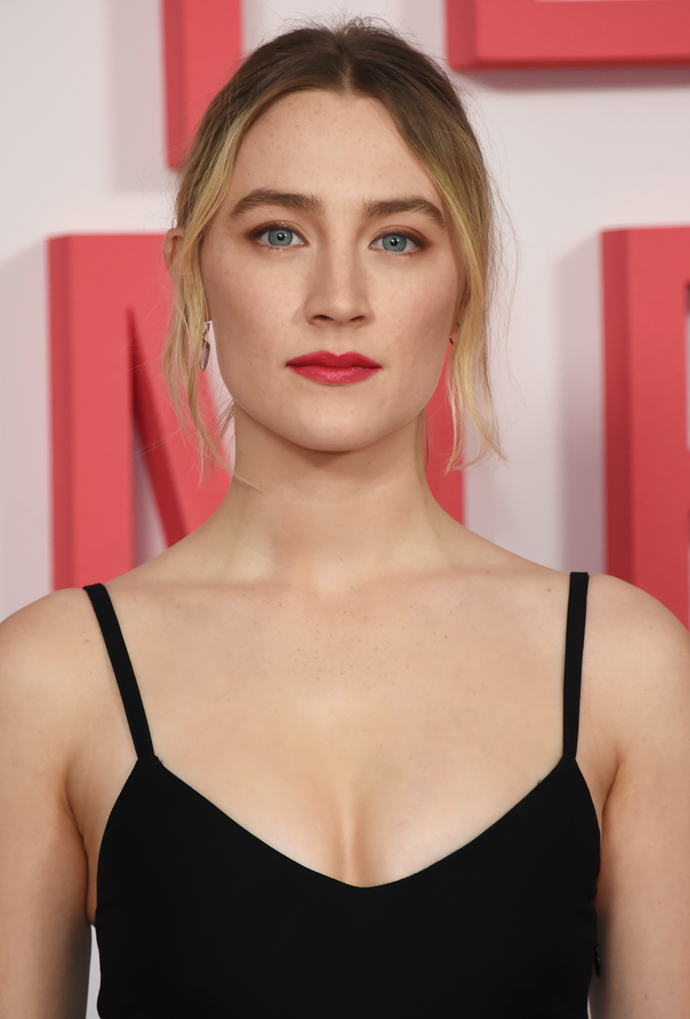 **Saoirse Ronan**<br></br> A middle-parted pony puts Ronan's roots quite literally front and centre.