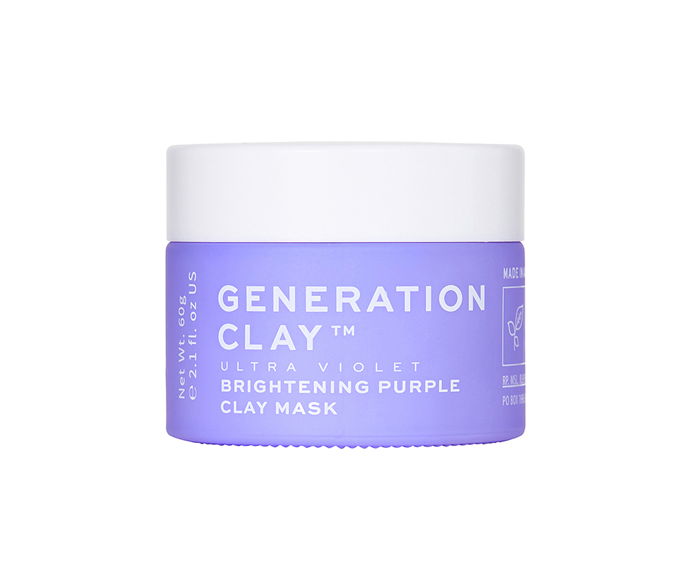"""**Ultra Violet Brightening Purple Clay Mask by Generation Clay, $61.94 at [REVOLVE](https://www.revolveclothing.com.au/r/DisplayProduct.jsp?aliasURL=generation-clay-ultra-violet-brightening-purple-clay-mask%2Fdp%2FGENC-WU2&d=F&countrycode=AU&_cclid=Google_Cj0KCQiApaXxBRDNARIsAGFdaB_6KblCIiRJf6UkPEO5IbRsfWV91gcfmT4I2YxZbeM4kU6TWg-CORAaAvtdEALw_wcB&gclid=Cj0KCQiApaXxBRDNARIsAGFdaB_6KblCIiRJf6UkPEO5IbRsfWV91gcfmT4I2YxZbeM4kU6TWg-CORAaAvtdEALw_wcB&product=GENC-WU2&product=GENC-WU2