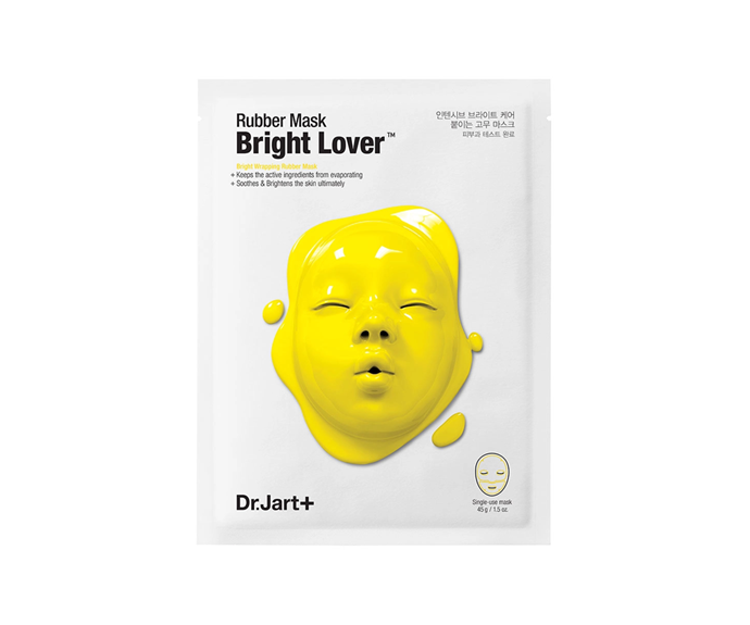 """**Rubber Mask Bright Lover by Dr. Jart+, $20 at [MECCA](https://www.sephora.com.au/products/dr-dot-jart-plus-rubber-mask-bright-lover/v/bright-lover