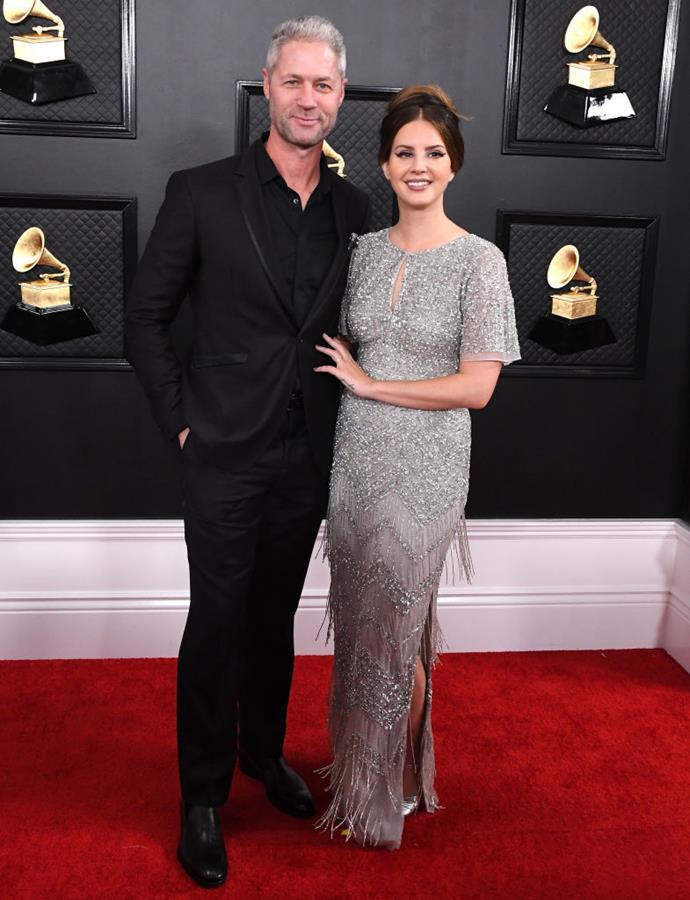 Del Rey and her boyfriend, Sean Larkin, at the 2020 Grammy Awards.