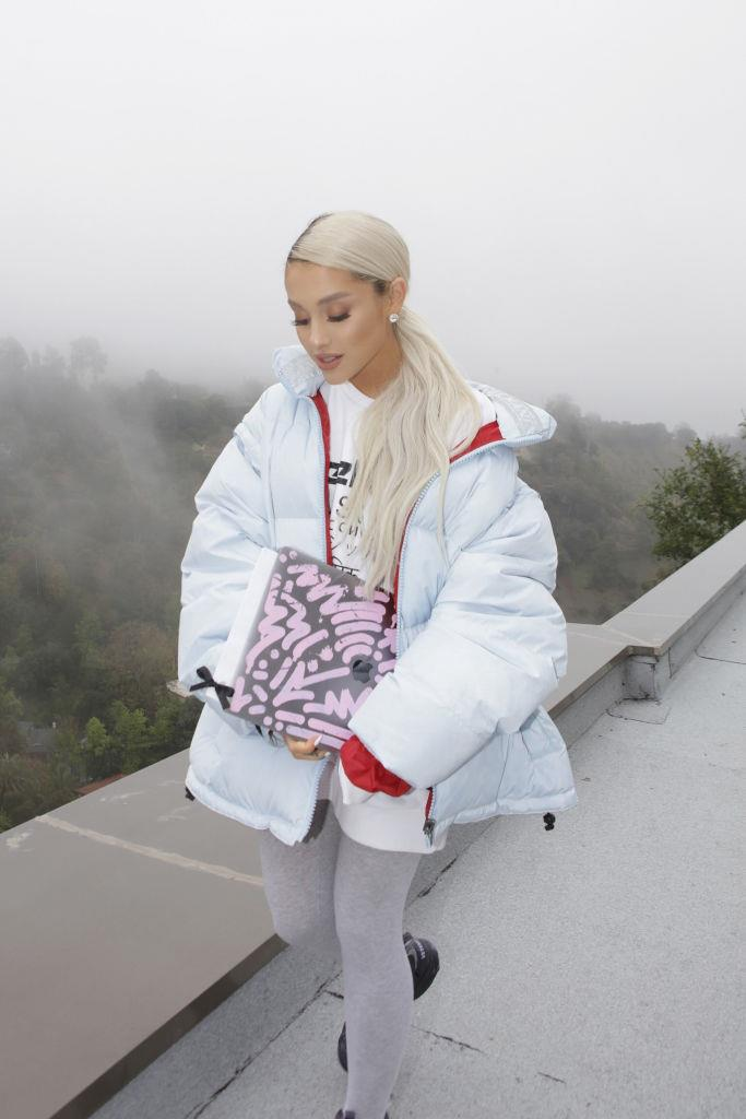 **March 2018**<br><br>  In 2018, Grande swapped her standard high ponytail for a low, side-parted version in ash blonde.
