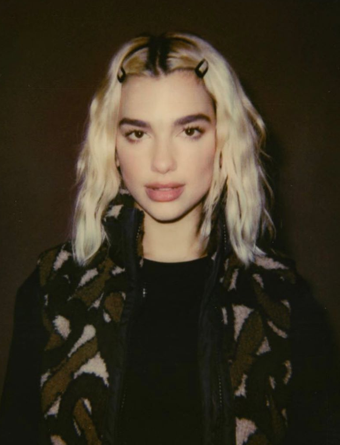 *Instagram/@dualipa*<br> A centre part and symmetrical snap clips? Lipa is practically #TBT personified.