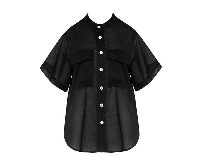 """**Short sleeve shirt by Matin, $290 at [My Chameleon](https://www.mychameleon.com.au/new-arrivals/clothing/tops/short-sleeve-shirt-black-matin