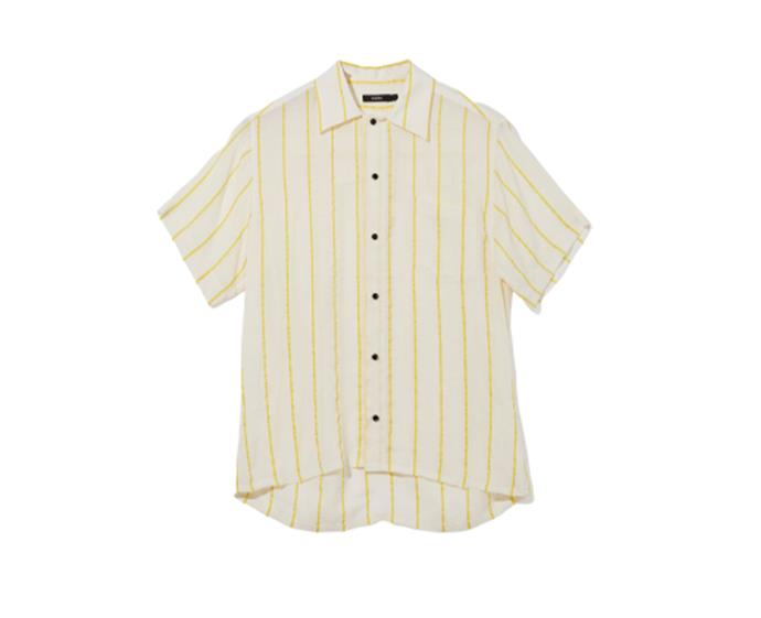 """**Viscose stripe shirt, $395 at [bassike](https://www.bassike.com/collections/women-shirts/products/viscose-stripe-man-style-shirt-r20wft34-naturalyellow
