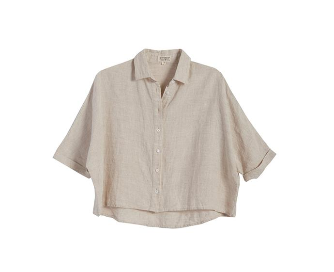 """**Bailey shirt in linen, $139 at [Rowie The Label](https://rowiethelabel.com/product/bailey-shirt-linen/