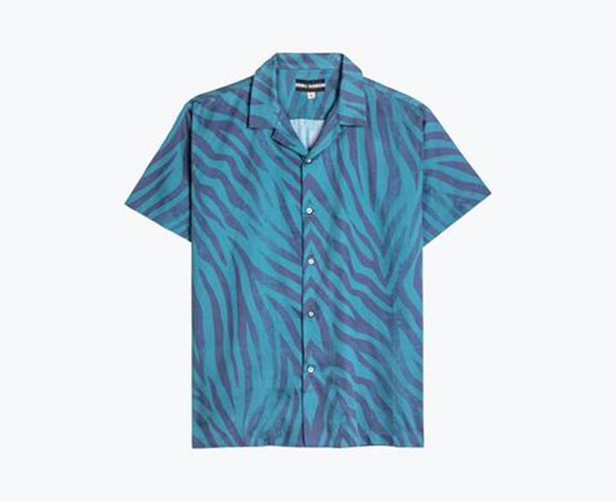 """**Pool shark blue Hawaiian shirt, $195 at [Double Rainbouu](https://www.doublerainbouu.com/products/pool-shark-blue-hawaiian-shirt