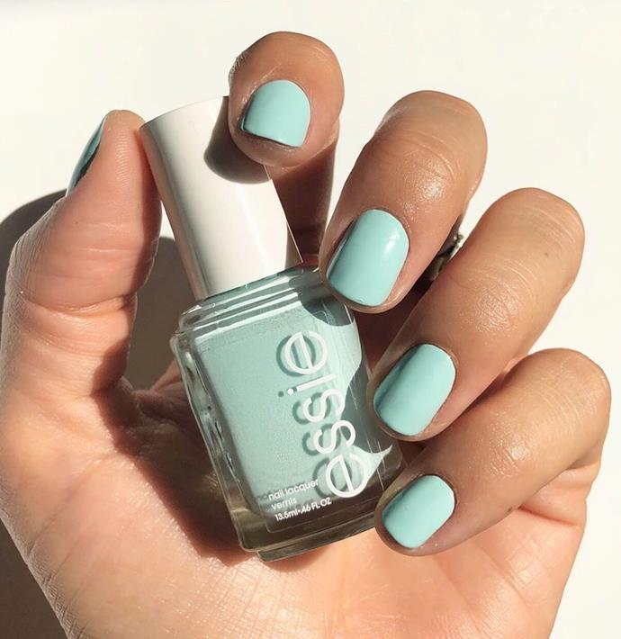 "**The Minty Manicure**<br><br>  A fresh hue that commands attention, mint nails look chic no matter the season. This pastel shade looks especially fresh against a (fake) tan and crisp, white clothes. Seeking the perfect hue? We can't go paste [Mint Candy Apple by Essie](https://www.priceline.com.au/essie-nail-color-13-5-ml|target=""_blank"").<br><br>  *Image via [@essie](https://www.instagram.com/p/ByEe4laDjdU/