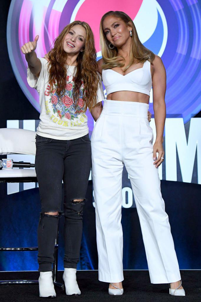 Shakira and Jennifer Lopez at a press conference for the Super Bowl LIV Halftime Show on January 30, 2020.