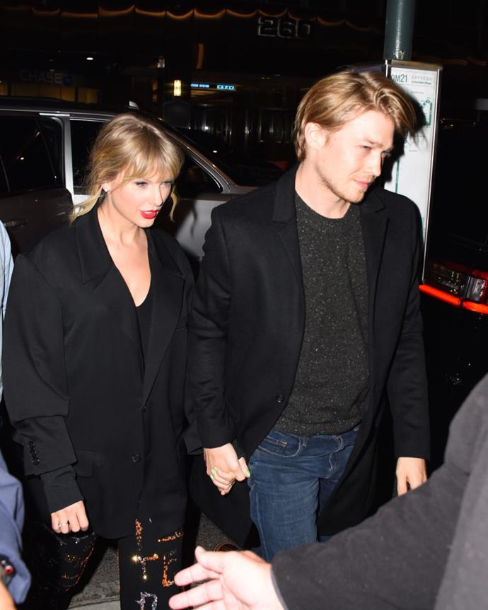 Taylor Swift and Joe Alwyn are seen at Zuma restaurant on October 6, 2019 in New York City.