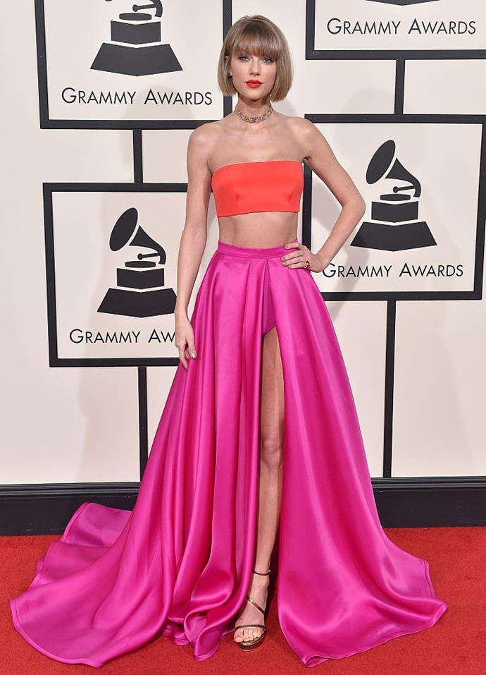 Taylor Swift arrives at The 58th GRAMMY Awards at Staples Center on February 15, 2016 in Los Angeles, California.
