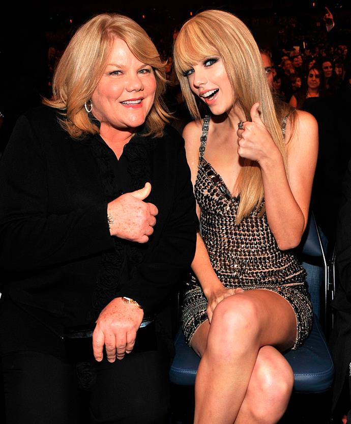 Andrea Swift and Taylor Swift in the audience at the 2010 American Music Awards held at Nokia Theatre L.A. Live on November 21, 2010 in Los Angeles, California.