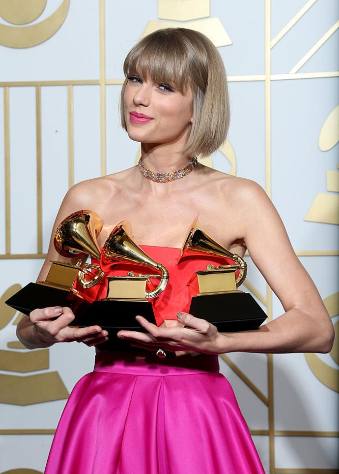 """Taylor Swift, winner of the awards for Album of the Year and Best Pop Album for """"1989"""" and Best Music Video for """"Bad Blood,"""" poses in the press room during The 58th GRAMMY Awards at Staples Center on February 15, 2016 in Los Angeles, California."""