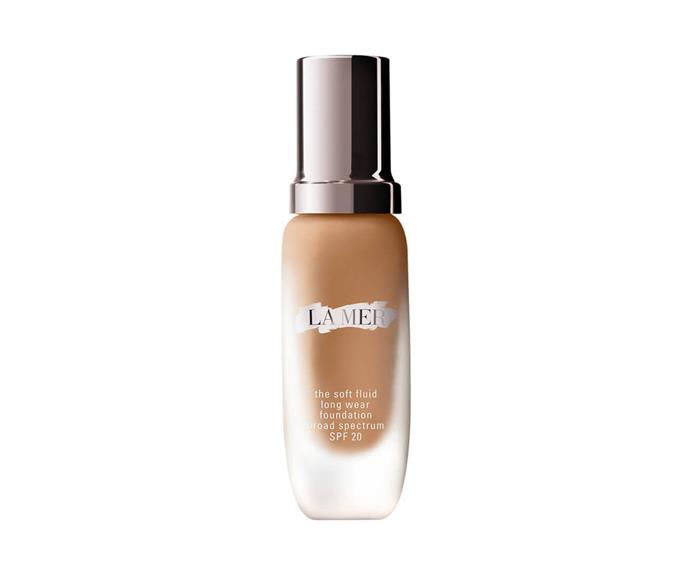 "**The Soft Fluid Long Wear Foundation SPF20 by La Mer, $200 at [MECCA](https://www.mecca.com.au/la-mer/the-soft-fluid-long-wear-foundation-spf-20/V-026810.html?cgpath=makeup-complexion-foundation|target=""_blank"")**<br> A luxury base buy formulated with colour capsule technology that justifies the splurge, this weightlessly radiant long-wearing liquid won't even *dream* of budging until it spies your evening cleanser."