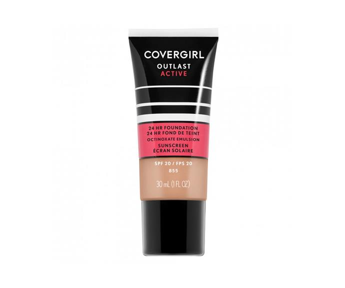 "**Outlast Active Foundation by Covergirl, $17.95 at [Priceline](https://www.priceline.com.au/cosmetics/face/foundation/covergirl-outlast-active-foundation-30-ml|target=""_blank"")**<br> Sweat, transfer and humidity-proof, you could apply, do a spin class, and still not need a touch up; it's a true set and forget style situation. Fair warning: it's designed to last, so a little coverage goes a long way."