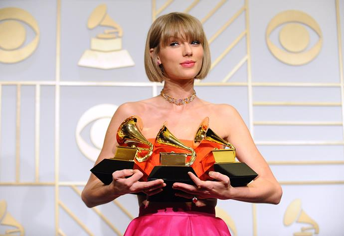 Taylor Swift at the 2016 Grammys Image: Getty
