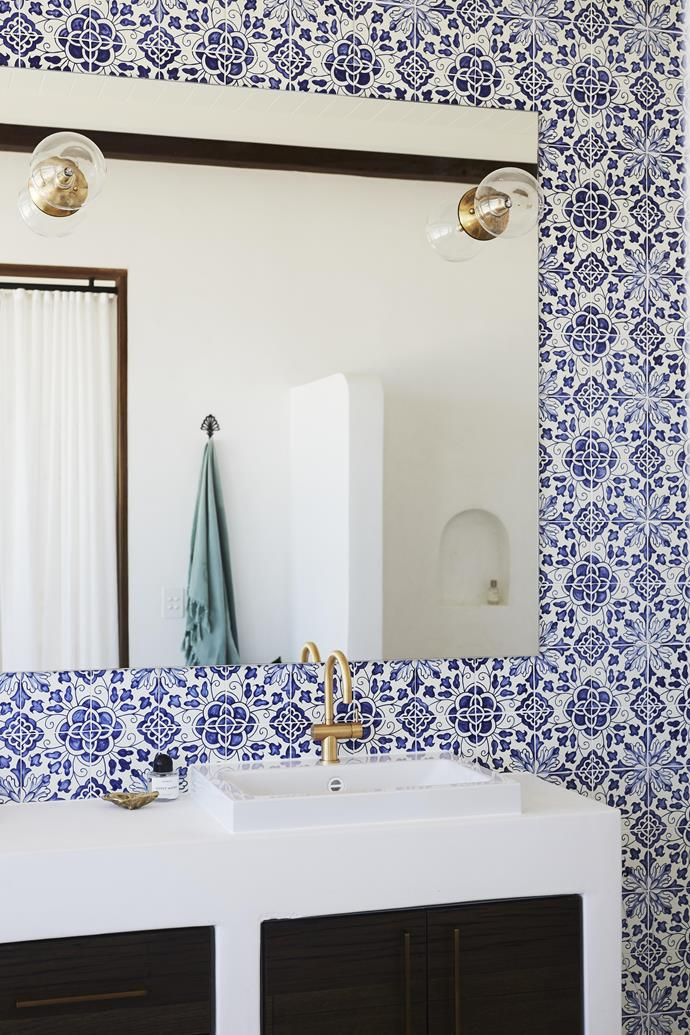 """A lot of love and passion went into [the bathroom],"" says Ziems.  <br><br> ""Each tile is handmade and hand-painted."""