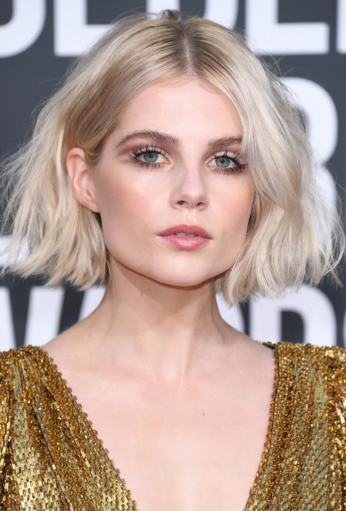 The very look that cemented her name atop the 'one to watch' list, Boynton took to the Golden Globes red carpet with a subtle take on graphic shadow and golden inner corners to match the ceremony's name.